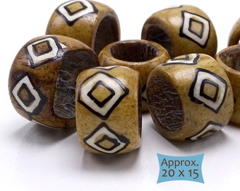 Big Batik Bone Beads Large Holes--1 Pc | BN263-1