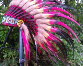 For kids/child-Double Feathers;Native American inspired Headdress, Little Chief style, Chief Indian, Kids Indian style Headdress, Tee pee