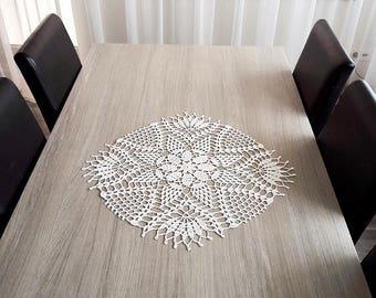 White linen doily, linen table centerpiece, crochet linen doily, linen table doily, linen lace doily, large crochet doily, white lace doily