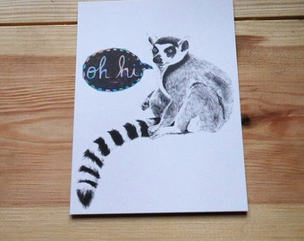 Oh hi Lemur - Postcard