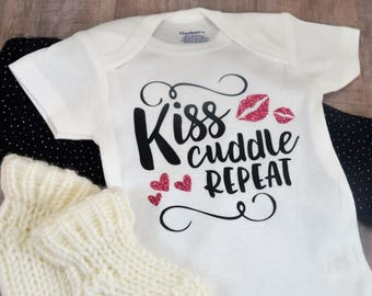 Kiss Cuddle Repeat Funny Baby One-Piece Shower Coming Home Birthday New Baby Gift Toddler Shirt Hilarious Girl Infant Bodysuit Cute Creeper