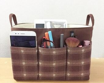 LOUIS VUITTON ORGANIZER, Purse Organizer Insert, Plaid Organizer Bag, purse organizer, Cosmetic Bag, Plaid bag, Brown bag, plaid bag