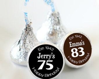 Milestone Hershey Kiss® Stickers - Hershey Kiss Stickers Birthday- Personalized Kiss Labels - 108 Kiss Seals - 40, 50, 60, 70, 80 , 90, 100