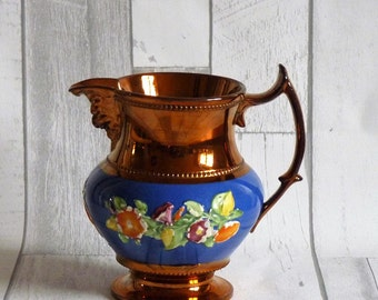 Antique Victorian Copper Lustre Jug / Luster Pitcher