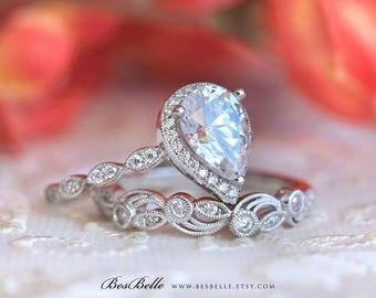 2.95 ct.tw Art Deco Bridal Set Ring-Halo Engagement Ring w/ Leaf & Vine Vintage Wedding Ring-Elegant Matched Set-Sterling Silver [65362-2A]