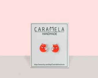 Fox Stud Earrings Animal stud Red Fox Earrings Small Post Earrings Animals earring Woodland Forest Wild animals stud earrings Gift