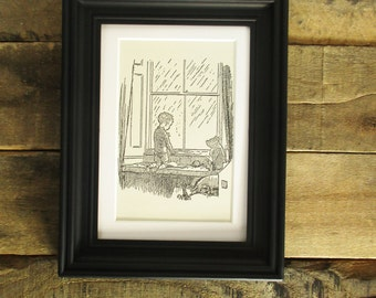 Original 1950's Winnie the Pooh 5x7 Book Print. Christopher Robin and Pooh Watching the Rain in this Nursery Print. Matted, ready to frame!