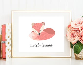 Sweet dreams - baby girl nursery wall art, fox nursery decor, coral nursery, pink print, woodland nursery artwork, 8x10, instant download