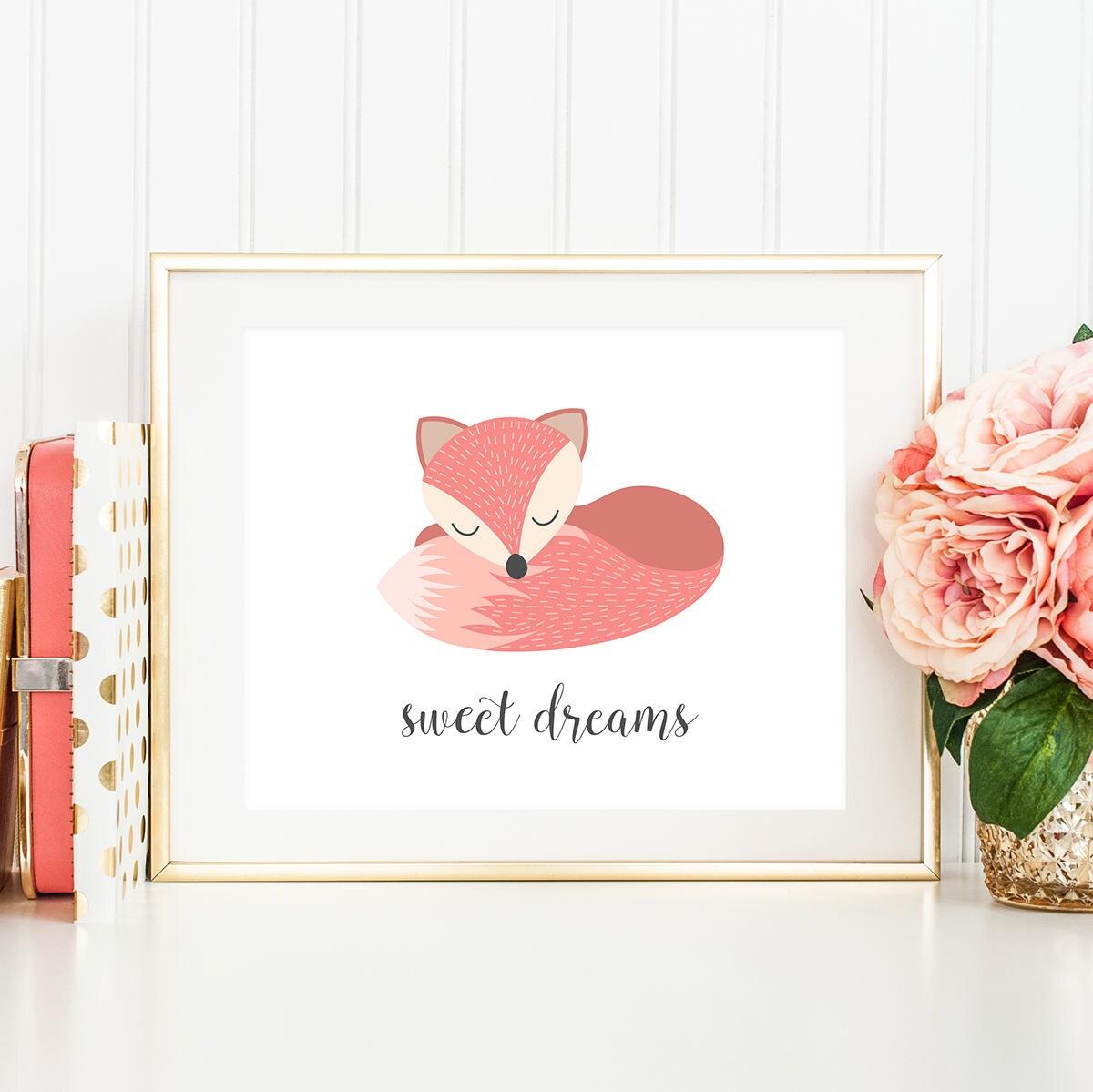 sweet dreams baby girl nursery wall art fox nursery decor. Black Bedroom Furniture Sets. Home Design Ideas