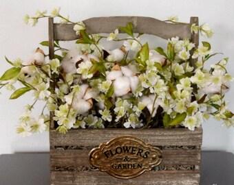 Rustic Cotton Arrangement with Flowers | Wood Planter Cotton Decor | Farmhouse Decor | Second Anniversary Gift