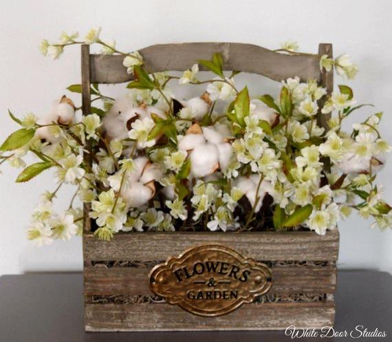 rustic cotton arrangement with flowers wood planter cotton