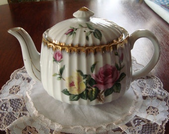 Shafford Japan Hand Painted Vintage PorcelainTeapot - Pink and Yellow Roses with Gold Trim