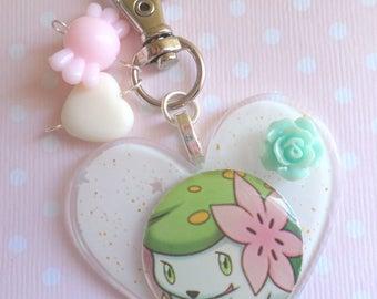 Bag Charm White Sparkles Shaymin Cute Pokemon Inspired