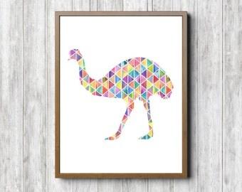 Geometric Emu Bird Nursery / Kids Room Wall Art - Australian Bird Silhouette Art Print - Watercolor Bird Poster - Childrens Room Art