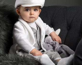 Boys Quilted Cotton Sweater, White