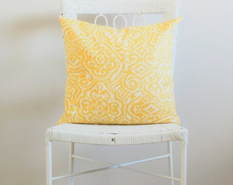 Yellow & White Pillow Cover, Yellow Couch Pillow Covers, Yellow White Decorative Throw Pillow, Yellow Pillow Sham, Yellow Euro Sham