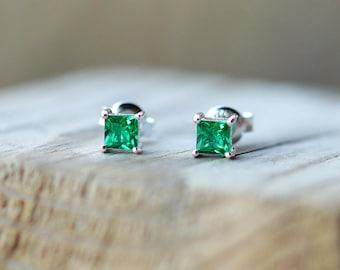 Emerald Stud Earrings Princess Cut Emerald Earrings Sterling Silver Earrings Emerald Earrings May Birthstone Earrings Emerald Studs