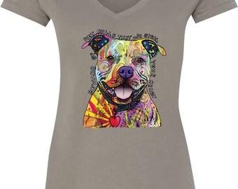 Ladies Beware of Pit Bulls V-Neck Shirt 20149NBT2-N1540