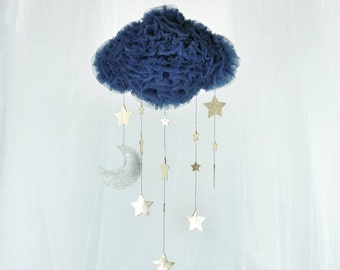 Large Deep Blue Tulle Cloud Mobile with Gold Stars and a Sparkly Silver Moon - Nursery Mobile - Kids Room Decoration