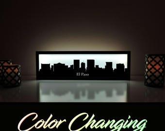 El Paso Skyline, El Paso Art, El Paso Skyline Art, City Skyline, Light Up Sign, City Skyline Art, Skyline Wall Art, El Paso Texas