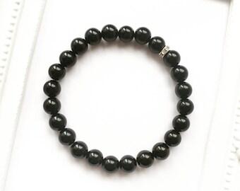 Black Onxy Gemstone Bead Bracelet~Silver Diamonte Rhinestone~Minimal Jewellery~Spiritual Meditation Yoga Boho Zen Reiki Root Chakra