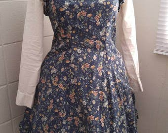 Gothic Lolita Jumperskirt JSK Navy Floral *gently used*