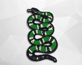 Green Snake Iron On Patch (L) -  Snake Applique Embroidered Iron on Patch Size 4.4x7.7 cm