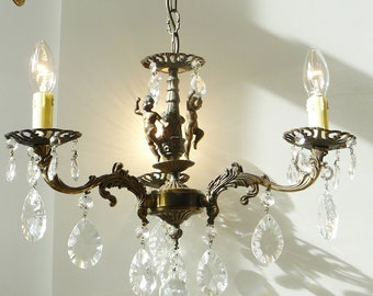 Vintage French Crystal Chandelier Cherub 3 Light #1