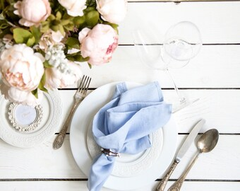 Stone Washed Linen Cloth Napkins set of 6