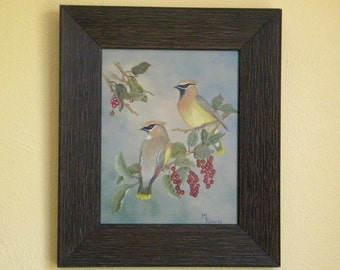Cedar Waxwings with Chokecherry in Oil
