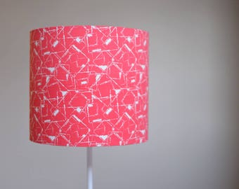 Coral Lampshade, Geometric Home Decor, Red Geometric, Red Lamp Shade, Red  Table