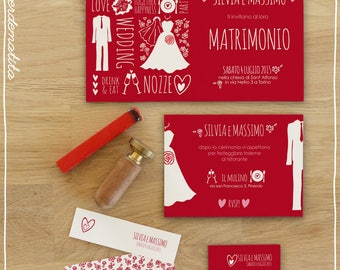 "Printable Wedding Invitations set ""Party"""