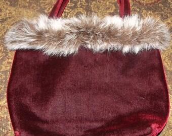 SALE Dark Red Velvet Faux Fur Bag Purse