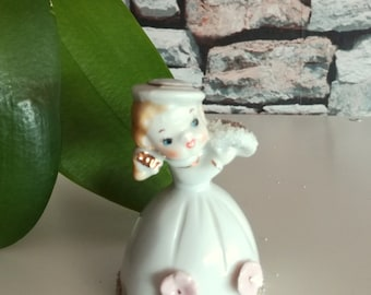 Foreign Porcelain Girl Bell Figurine