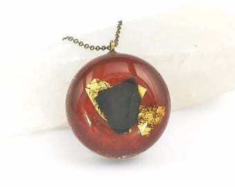 Shungite Pendant, Orgone pendant, Orgonite® pendant, Red, Maroon, one of a kind, art jewelry, Handmade, energy pendant, spiritual jewelry