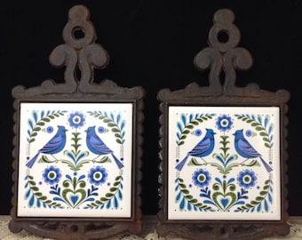 Cast Iron Trivet Set Folk Art Wall Decor Blue Folk Art Bird Tile Trivet Farmhouse Wall Decor Kitchen Decor