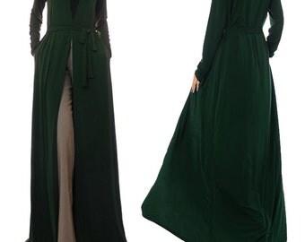 Moss Green Cardigan | Long Duster Cardigan | Long Cardigan | Maxi Cardigan | Kimono Cardigan | Duster Jacket | Kimono Robe Jersey Abaya 6384