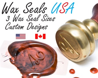 Wax Seal Stamp, Custom Wax Seal Stamp USA, Wedding Wax Seal Stamp - 3 Sizes to choose from - Your artwork on a Wax Seal