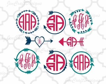 Arrow Monogram Frames Svg cutting file, SVG EPS Png DXF,studio 3, Cuttable Cricut Design Space, Silhouette Studio,Digital Cut Files