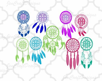 Dream Catcher Svg Monogram, Boho Dream Catcher Designs Feathers Pack SVG Eps Png Dxf, Cricut Design Space, Silhouette Studio, Cuttable