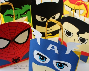 Superhero favor bags Superhero birthday party decorations for boy and girl party favors Super hero decorations Superhero first birthday 1st