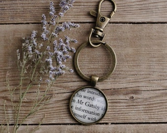 The Great Gatsby book page keychain.