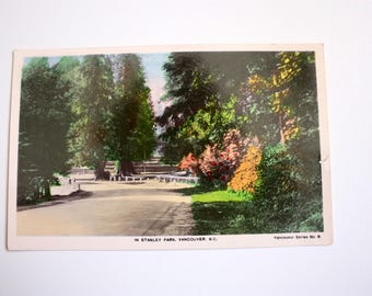 Stanley Park Vancouver/ Real Photograph Postcard / Handcoloured / Fred Spalding / British Columbia postcard