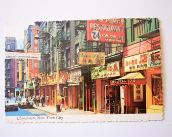 Chinatown New York City Postcard / vintage Chinatown Postcard NYC postcard Pell street  Chinatown Vintage signs postcards Shopping Postcard