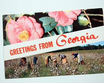 Greetings From Georgia Postcard, Greetings Postcard, picking Cotton Postcard, Plastichrome P14510