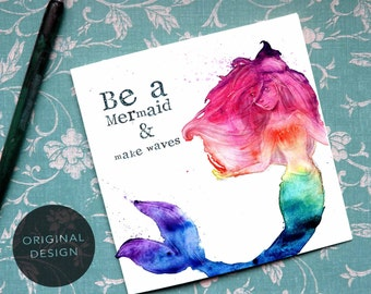 Mermaid Card, Mermaid Art, Mermaid Birthday, Mermaid Invite, Rainbow Card, Watercolour Art, Mermaid Quote, Cute Mermaid, Magic Card, CV1