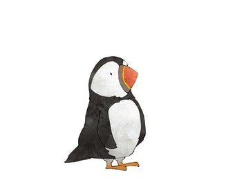 Puffin Illustration - Arctic Animal Art Print, Kids Room Animal Art, Puffin Nursery Print, Baby Puffin Decor