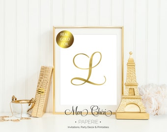 Initial Gold Foil Print / 5x7 OR 8x10 Real Gold Foil Print / Typography Foil Print