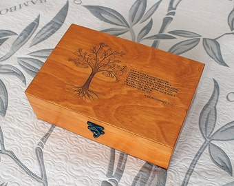 Custom quote wooden box, Memory box, Engraved quote box, Custom engraved jewelry box, Keepsake box, Treasury box