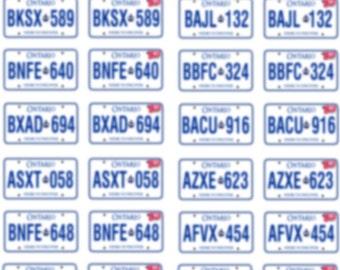 ONTARIO scale model license plates (sticker back)